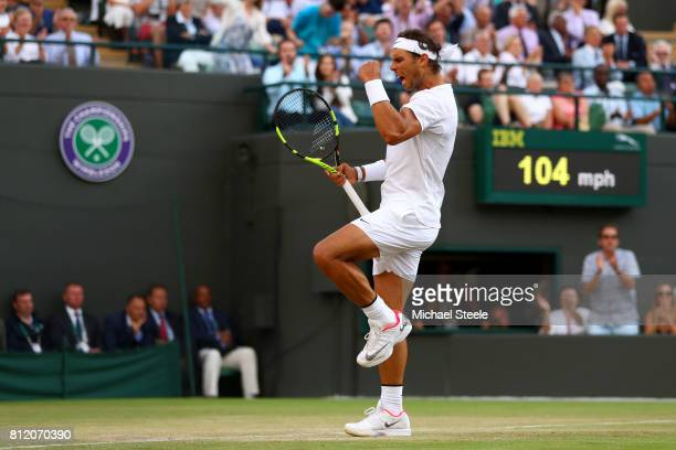 Rafael Nadal of Spain celebrates during the Gentlemen's Singles fourth round match against Gilles Muller of Luxembourg on day seven of the Wimbledon...