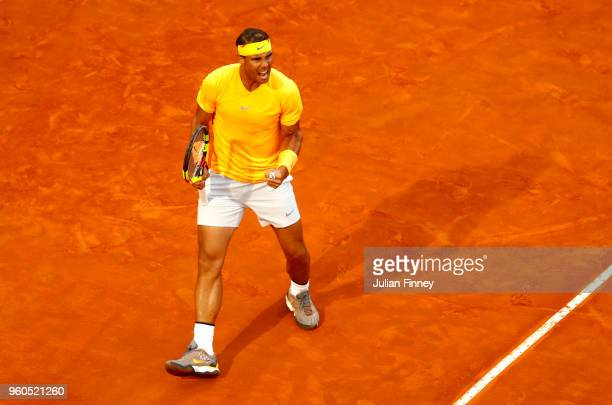 Rafael Nadal of Spain celebrates during the Mens Singles final match between Rafael Nadal and Alexander Zverev on Day Eight of the The Internazionali...