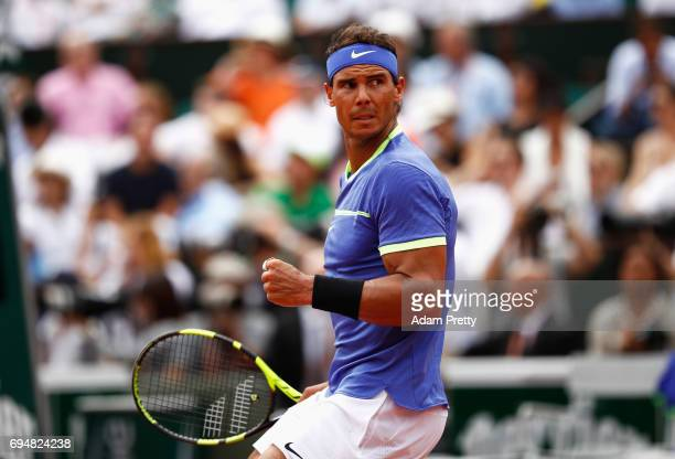 Rafael Nadal of Spain celebrates during the men's singles final against Stan Wawrinka of Switzerland on day fifteen of the French Open at Roland...