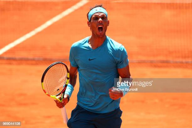 Rafael Nadal of Spain celebrates during the mens singles quarter finals match againts Diego Schwartzman of Argentina during day twelve of the 2018...