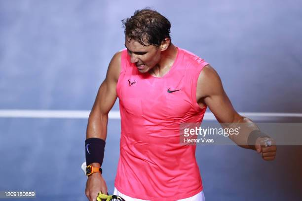 Rafael Nadal of Spain celebrates during the singles match between Rafael Nadal of Spain and Soonwoo Kwon of South Korea as part of the ATP Mexican...