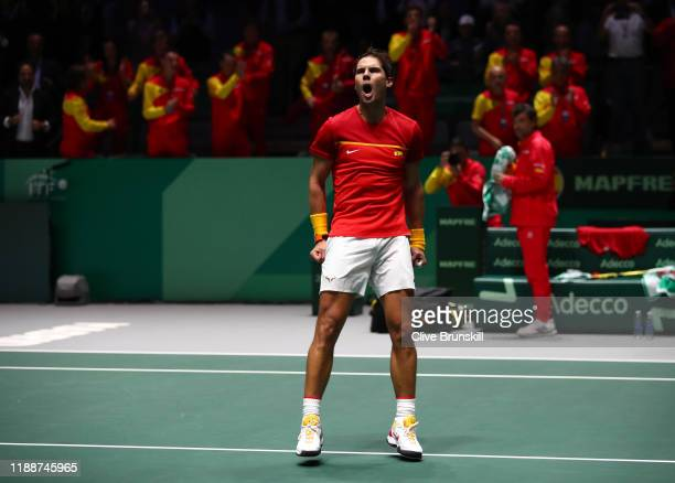 Rafael Nadal of Spain celebrates following victory in the match against Karen Khachanov of Russia during Day 2 of the 2019 Davis Cup at La Caja...