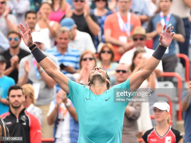 Rafael Nadal of Spain celebrates his 63 60 victory over Daniil Medvedev of Russia during the mens singles final on day 10 of the Rogers Cup at IGA...