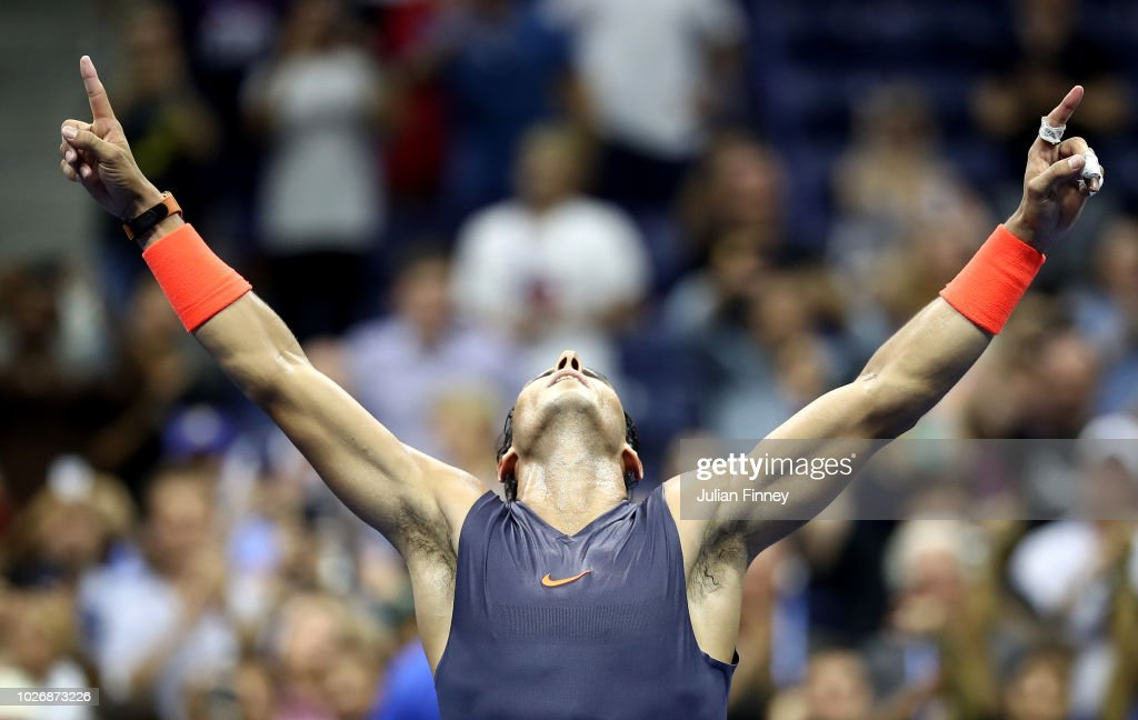 Rafael Nadal of Spain celebrates his five-set win in the men's singles quarter-final match against Dominic Thiem of Austria on Day Nine of the 2018 US Open at the USTA Billie Jean King National Tennis Center on September 4, 2018 in the Flushing neighborhood of the Queens borough of New York City.