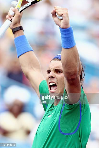 Rafael Nadal of Spain celebrates his match win over Fernando Verdasco of Spain during the Western Southern Open at the Lindner Family Tennis Center...