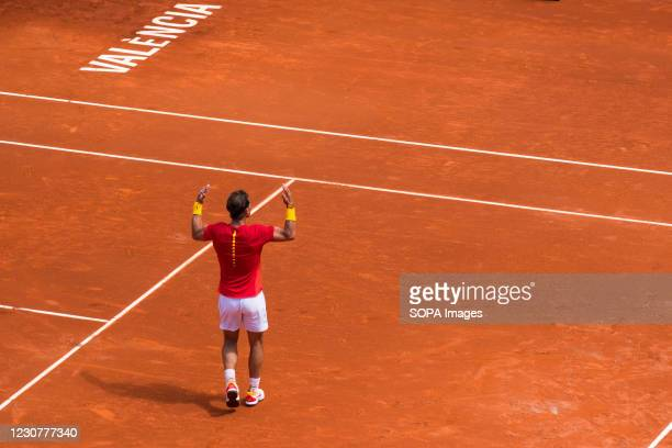 Rafael Nadal of Spain celebrates his point against Alexander Zverev of Germany during the quarterfinals of the Davis Cup 2018 at the plaza de toros...