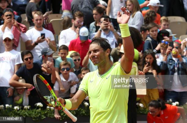 Rafael Nadal of Spain celebrates his second round victory during day 4 of the 2019 French Open at Roland Garros stadium on May 29 2019 in Paris France