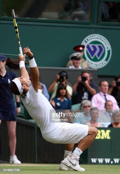 Rafael Nadal of Spain celebrates his straightsets victory over Andy Murray of Great Britain on Day Eleven of the Wimbledon Lawn Tennis Championships...