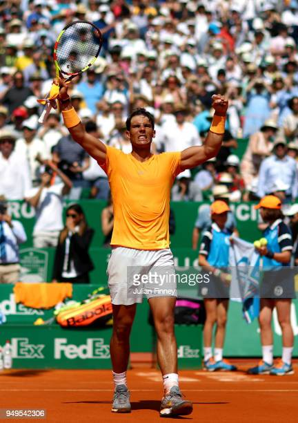 Rafael Nadal of Spain celebrates his victory after his men's SemiFinal match against Grigor Dimitrov of Bulgaria during day seven of ATP Masters...