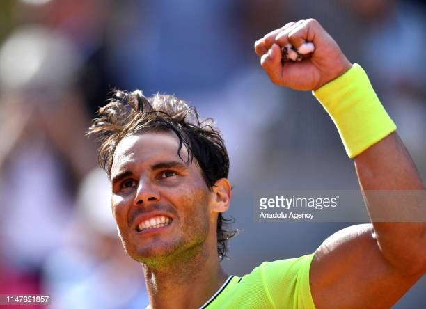 Rafael Nadal of Spain celebrates his victory after winning against Juan Ignacio Londero of Argentina during their fourth round match at the French...