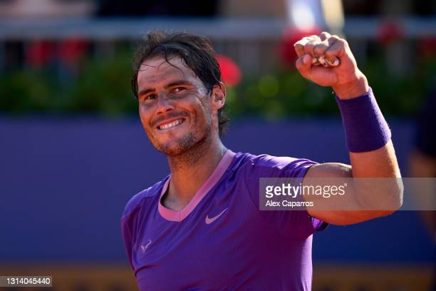 Rafael Nadal of Spain celebrates his victory against Cameron Norrie of Great Britain in their quarter-final match during day five of the Barcelona...