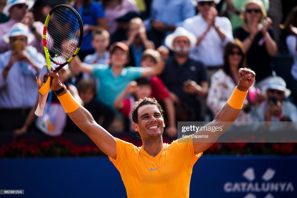 Rafael Nadal of Spain celebrates his victory against David Goffin of Belgium in their semi-final match during day six of the Barcelona Open Banc Sabadell on April 28, 2018 in Barcelona, Spain.
