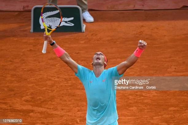 Rafael Nadal of Spain celebrates his victory against Diego Schwartzman of Argentina in the Semi Finals of the singles competition on Court...