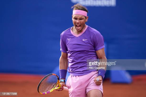 Rafael Nadal of Spain celebrates his victory against Ilya Ivashka of Belarus in their second round match during day three of the Barcelona Open Banc...