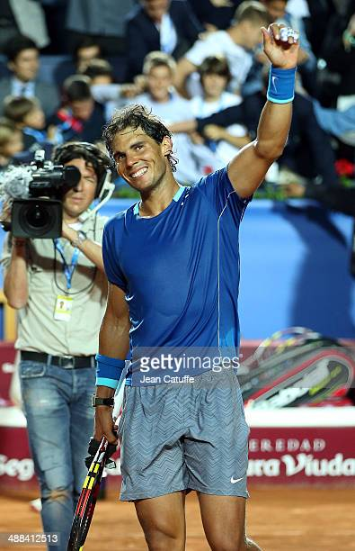 Rafael Nadal of Spain celebrates his victory against Ivan Dodig of Croatia during day four of the ATP Tour Open Banc Sabadell Barcelona 2014 62nd...