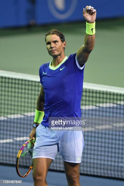 Rafael Nadal of Spain celebrates his victory against Jack Sock of the United States on Day 5 during the Citi Open at Rock Creek Tennis Center on...