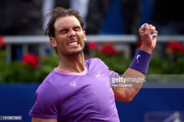 Rafael Nadal of Spain celebrates his victory against Kei Nishikori of Japan in their third round match during day four of the Barcelona Open Banc...
