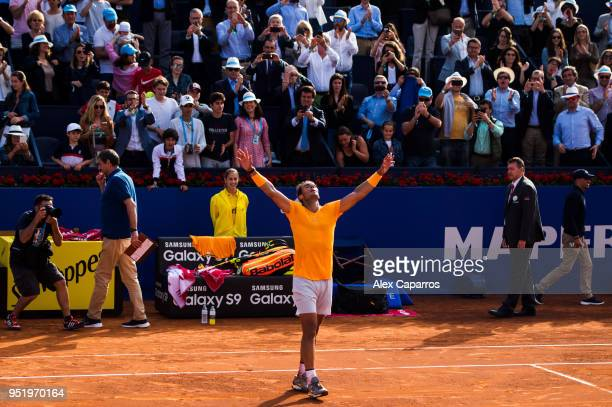 Rafael Nadal of Spain celebrates his victory against Martin Klizan of Slovakia in their match during day five of the Barcelona Open Banc Sabadell on...