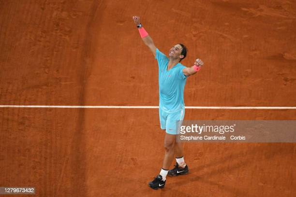 Rafael Nadal of Spain celebrates his victory against Novak Djokovic of Serbia in the Singles Final on Court Philippe-Chatrier during the French Open...