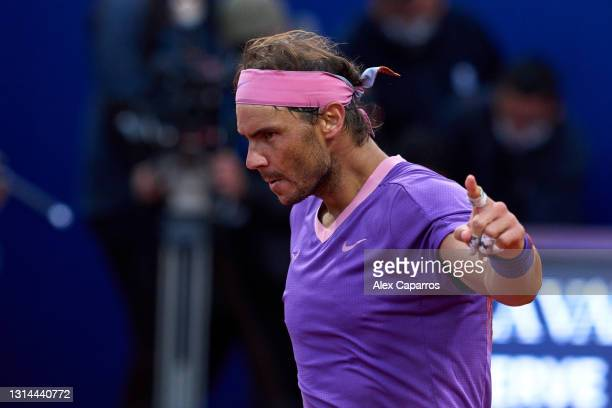 Rafael Nadal of Spain celebrates his victory against Stefanos Tsitsipas of Greece in their final match during day seven of the Barcelona Open Banc...