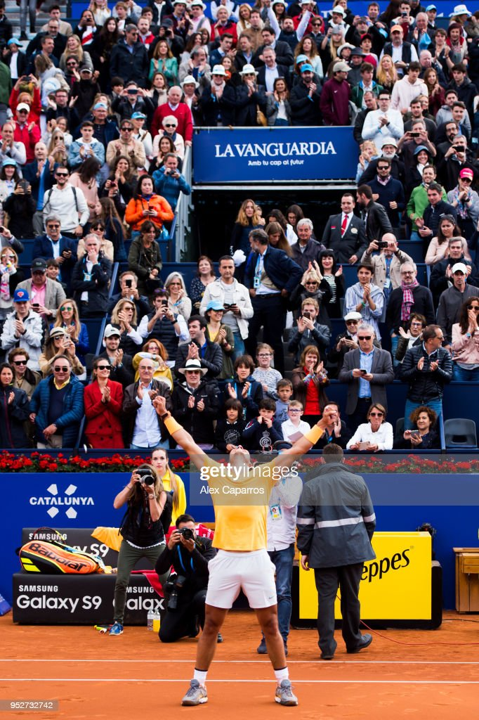 Rafael Nadal of Spain celebrates his victory against Stefanos Tsitsipas of Greece in their final match during day seven of the Barcelona Open Banc Sabadell on April 29, 2018 in Barcelona, Spain.