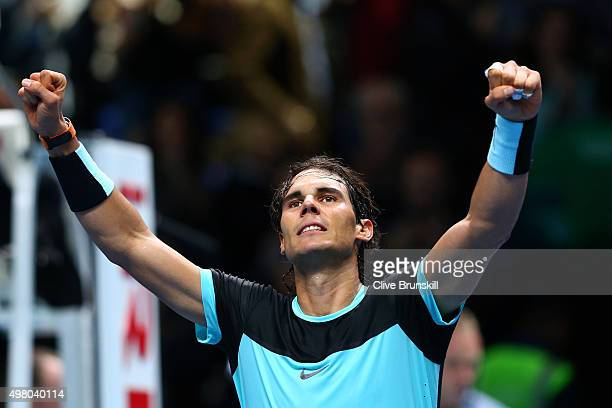Rafael Nadal of Spain celebrates his victory during the men's singles match against David Ferrer of Spain on day six of the Barclays ATP World Tour...