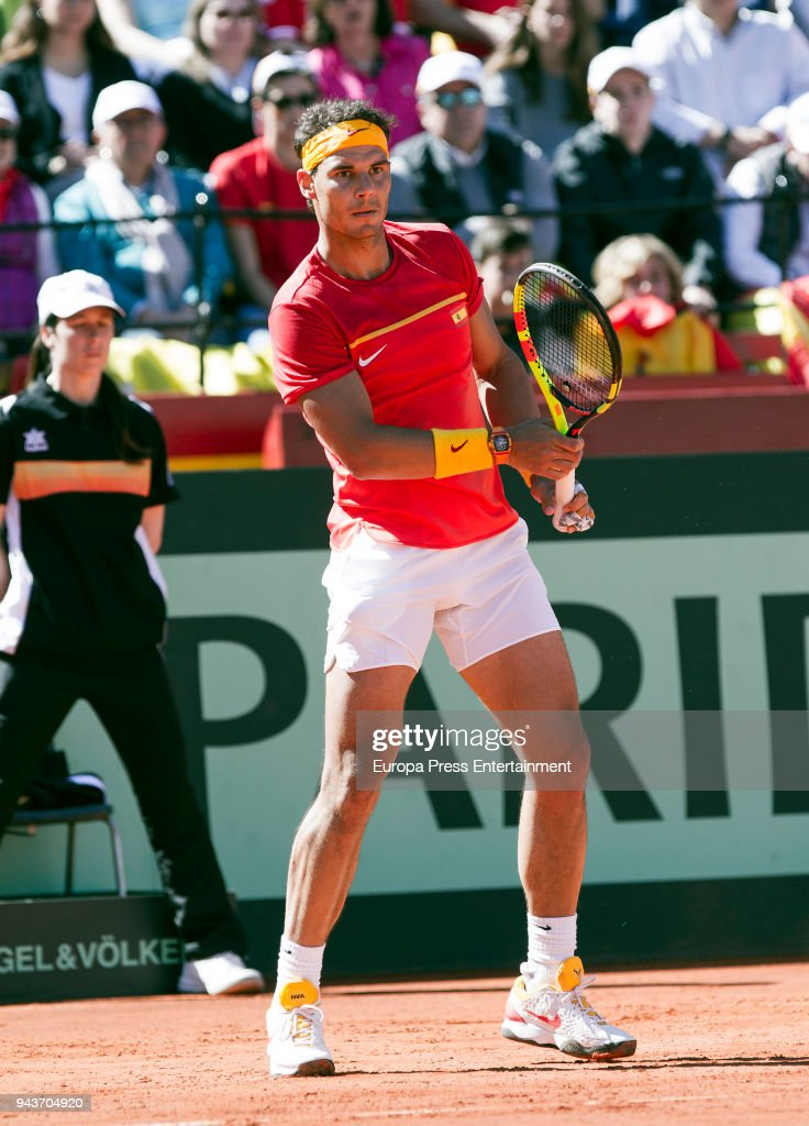 Rafael Nadal of Spain celebrates his victory in his match against Alexander Zverev of Germany during day three of the Davis Cup World Group Quarter Finals match between Spain and Germany at Plaza de Toros de Valencia on April 8, 2018 in Valencia, Spain.
