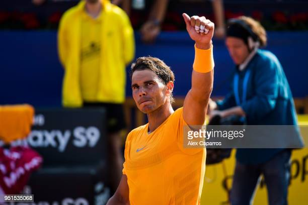 Rafael Nadal of Spain celebrates his victory in his match against Guillermo GarciaLopez of Spain during day four of the Barcelona Open Banc Sabadell...