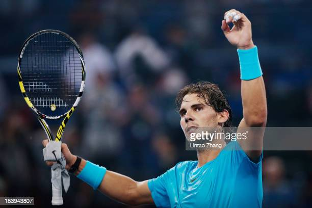 Rafael Nadal of Spain celebrates his win against Carlos Berlocq of Argentina during the Shanghai Rolex Masters at the Qi Zhong Tennis Center on...