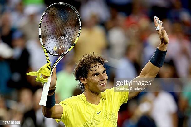 Rafael Nadal of Spain celebrates his win over Benjamin Becker of Germany during the Western & Southern Open on August 14, 2013 at Lindner Family...
