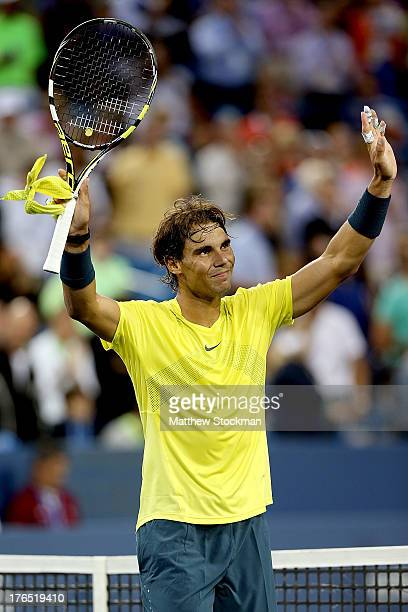 Rafael Nadal of Spain celebrates his win over Benjamin Becker of Germany during the Western Southern Open on August 14 2013 at Lindner Family Tennis...