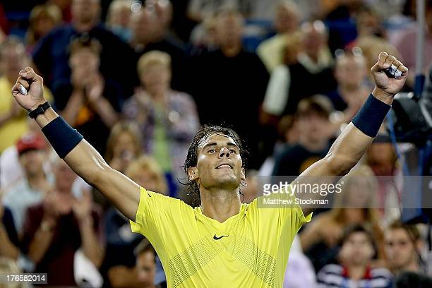 Rafael Nadal of Spain celebrates his win over Grigor Dimitrov of Bulgaria during the Western Southern Open on August 15 2013 at Lindner Family Tennis...