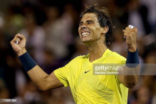 Rafael Nadal of Spain celebrates his win over Novak Djokovic of Serbia during the semifinals of the Rogers Cup at Uniprix Stadium on August 10 2013...