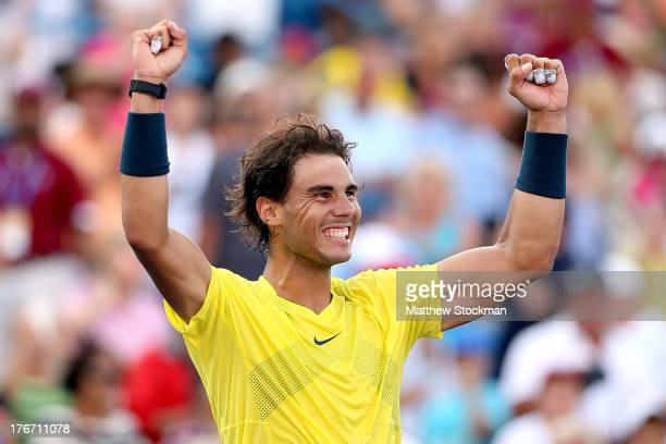 Rafael Nadal of Spain celebrates his win over Tomas Berdych of Czech Republic during the semifinals of the Western Southern Open on August 17 2013 at...
