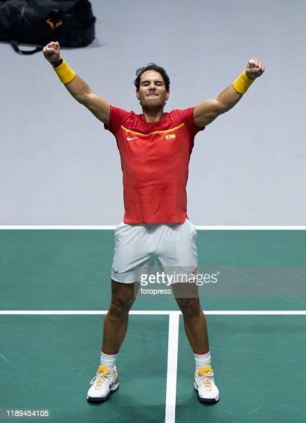 Rafael Nadal of Spain celebrates his winning after the quarter final doubles match between Argentina and Spain during Day Five of the 2019 Davis Cup...