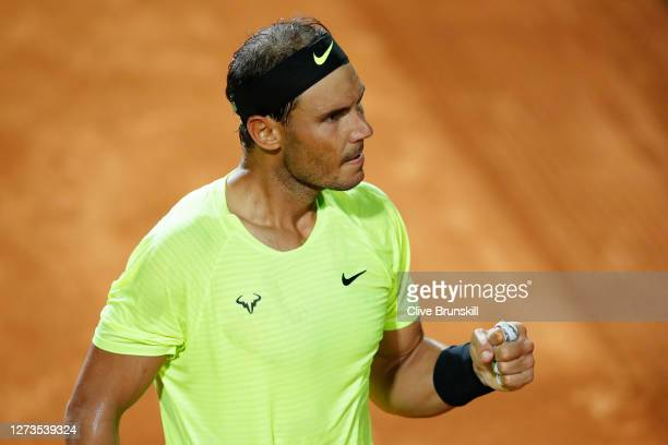 Rafael Nadal of Spain celebrates in his quarterfinal match against Diego Schwartzman of Argentina during day six of the Internazionali BNL d'Italia...