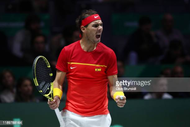 Rafael Nadal of Spain celebrates in his singles final match against Denis Shapovalov of Canada during Day Seven of the 2019 Davis Cup at La Caja...