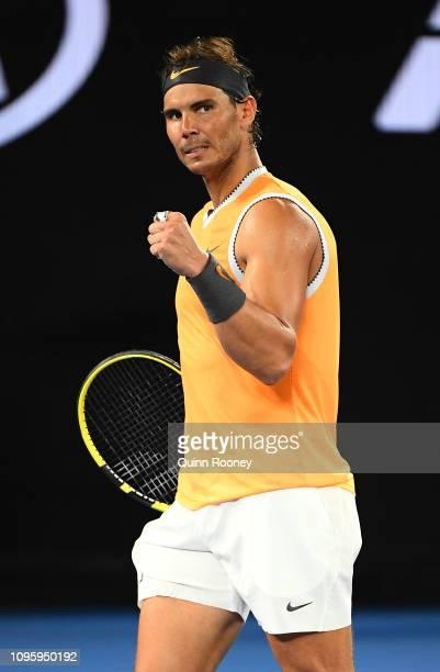 Rafael Nadal of Spain celebrates in his third round match against Alex De Minaur of Australia during day five of the 2019 Australian Open at...