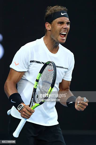 Rafael Nadal of Spain celebrates in his third round match against Alexander Zverev of Germany on day six of the 2017 Australian Open at Melbourne...