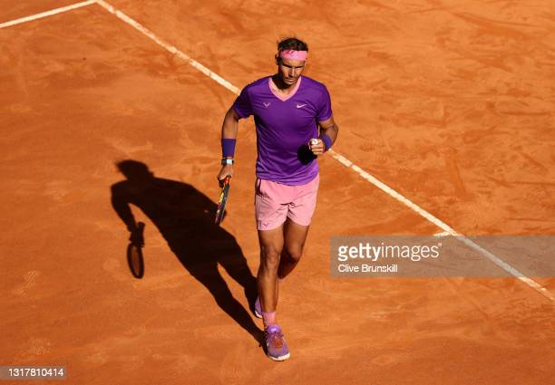 Rafael Nadal of Spain celebrates in their mens singles third round match against Denis Shapovalov of Canada during Day Six of the Internazionali BNL...