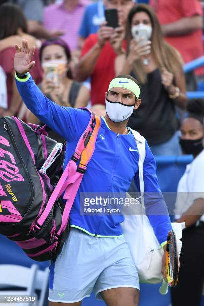 Rafael Nadal of Spain celebrates is introduced before a match against Jack Sock of the United States on Day 5 during the Citi Open at Rock Creek...