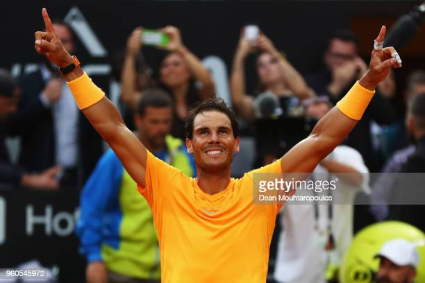Rafael Nadal of Spain celebrates match point after victory in his Mens Final match against Alexander Zverev of Germany during day 8 of the...