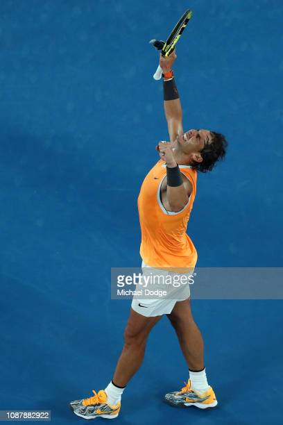 Rafael Nadal of Spain celebrates match point after winning his Men's Singles Semi Final match against Stefanos Tsitsipas of Greece during day 11 of...