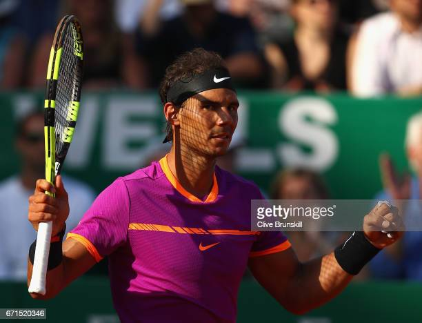 Rafael Nadal of Spain celebrates match point against David Goffin of Belgium in their semi final round match on day seven of the Monte Carlo Rolex...