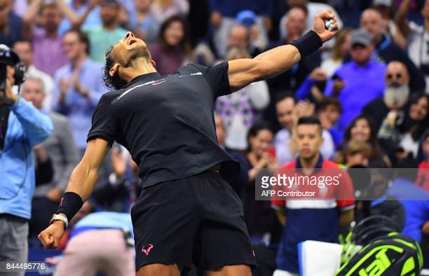 Rafael Nadal of Spain celebrates match point against Juan Martin del Potro of Argentina in their Men's semifinal singles match of the US Open 2017 at...