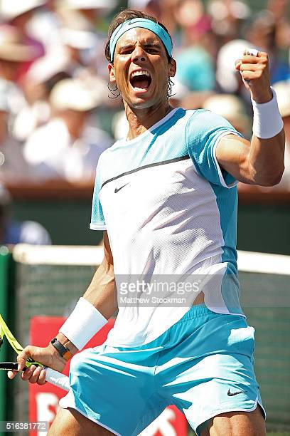 Rafael Nadal of Spain celebrates match point against Kei Nishikori of Japan during the BNP Paribas Open at the Indian Wells Tennis Garden on March 18...