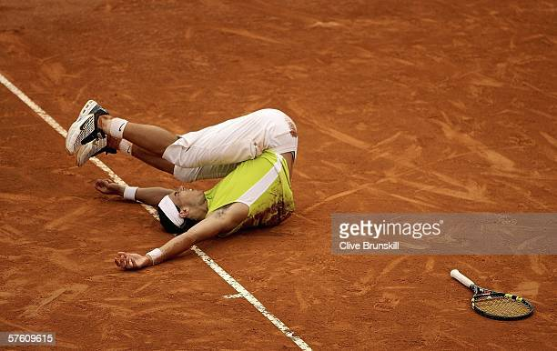 Rafael Nadal of Spain celebrates match point against Roger Federer of Switzerland in the final of the ATP Masters Series on May 14 2006 at the Foro...