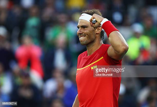 Rafael Nadal of Spain celebrates match point against Thomaz Bellucci of Brazil in the Men's Singles Quarterfinal on Day 7 of the Rio 2016 Olympic...