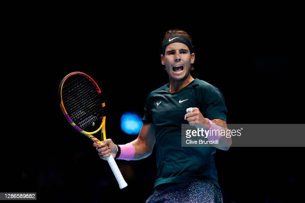 Rafael Nadal of Spain celebrates match point during his match against Stefanos Tsitsipas of Greece during their third round robin match on Day Five...