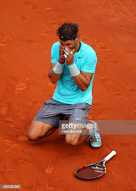 Rafael Nadal of Spain celebrates match point during his men's singles final match against Novak Djokovic of Serbia on day fifteen of the French Open...